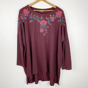 Umgee Floral Embroidered Burgundy Tunic L